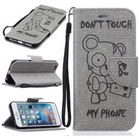 couvertures de téléphone ours en peluche achat en gros de-Pour Iphone 7 Plus I7 IPhone7 6 6S SE 5 5S Cartoon Teddy Bear Etui portefeuille en cuir Mignon Ne Touch My Phone Pouch Support 1pcs Cartes de couverture