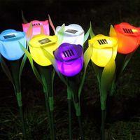 Wholesale New Arrival Solar tulips Solar energy lamp Lawn lamp V Battery mA tulip flower LED bulbs Lawn lamp