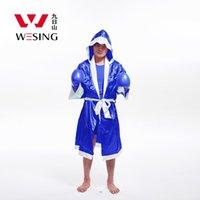 al por mayor cajas del traje-Wesing satén vestido de boxeo rojo apto para sanda muay tailandés boxeo