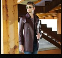 Wholesale 2016 Autumn Men s Double Breasted Faux Leather Trench Coat Long Jacket Fashion Black Belted PU Leather Windcoat