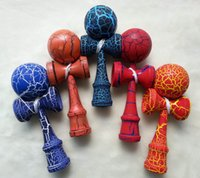 Wholesale 150pcs cracked ball cracked handle kendama Professional game top quality full crack paint beech for all ages