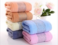 beach towels custom - Factory direct twistless cotton towel towel plain thickening promotional gifts beach towel six colors custom LOGO