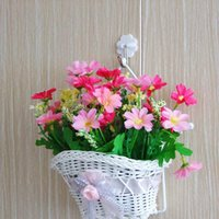 beautiful hanging baskets - beautiful White Woven artificial flower hanging baskets on door for wedding festival party home decoration