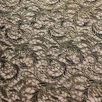 apparel manufactures - Vortex Lace Foiled Gold Black Chemical Guipure Lace Fabric Women Apparel Fabric Retail Manufacture Lace