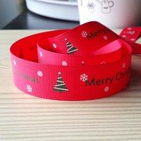 Wholesale Grosgrain Ribbon inch mm Fashion Christmas Snowflake and Tress Print Hair Clip Headbands Ribbon yds roll Webbing