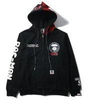 Wholesale Aape hoodies men fleece sweatshirt hooded cardigan hoodies sweatshirts casual sportwear hip hop sweat baseball bomber jacket