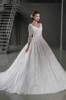 alibaba - Backless Elegant Alibaba White Long Sleeve Ball Gown Lace wedding Dresses Bridal Gown vestidos de novia With V Neck