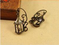 antique bird cages - 34 MM Antique Bronze Retro bird cage charm birdcage charms pendant beads DIY handmade jewelry Korean accessories