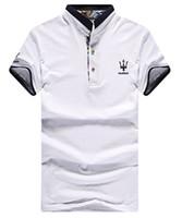 Wholesale Popular New Men short sleeved t shirt lapel cotton men poloshirt Slim Maserati polo shirts printing ralph men t shirt tide
