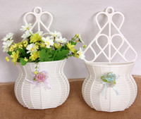 Wholesale 2pcs White Flower Basket Vase Vases Storage For Wedding Party Homes Garden Office Decoration
