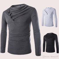 basic grey buttons - 2016 New Mens Drape Neck Cotton T Shirt Slim Long Sleeve Buttons Casual Tee White Black Grey Basic Shirt AWE1201