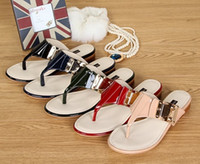 Wholesale A1402 ladd flats sandals color women summer spring flip flop sandals patent leather shoes lady sandals