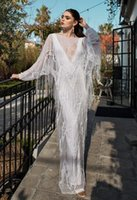 bare back dress - Gorgeous Macrame Bridal Dress Sexy Deep V Neck Beading Lace Wedding Dress with Long Sleeve and Low Bare Back
