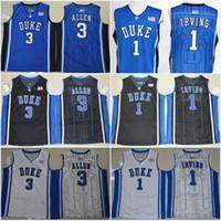 Wholesale Duke Blue Devils Grayson Allen Kyrie Irving Brandon Ingram College Stitched Jerseys New Style Embroidery Logos