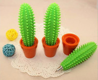 beauty pot - Freeshipping cute beauty Spike Pen green Cactus Pen Funny Cactus Ballpoint Pen with Plant Pot
