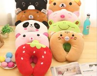 Wholesale 2016 cartoon PP cotton U pillow lovely neck pillow cushion nap dual use office gift promotion activities