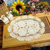 Wholesale Handmade Crochet Cotton Lace Table Placemats Doilies Oval white cm