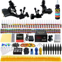 Rotary Tattoo Kit tattoo kits - Complete Tattoo Kits Pro Rotary Tattoo Machine Guns Inks Power Supply Needle Grips Taty Set TK255