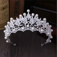 Wholesale Korean large pearl crown high grade super flash diamond tiara bride marriage yarn dress accessories jewelry crown