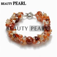 agate cultured pearls - 14mm Round Red Agate with Freeform White Freshwater Cultured Pearls Chip Bracelet Handmade Vintage Strand Bracelet for Women