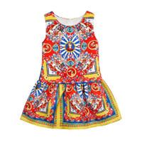 american girl fun - INS girls Catholic church printed vest dress Girls Clothes Brand Girls Dress Princess Party Kids Children Clothing Toddler Kids Fun