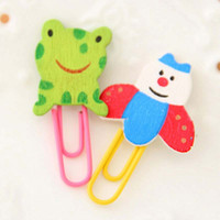 Wholesale Lovely Wooden Animals Shape Bookmarks Colored Paper Clip Cartoon Book Marks Office School Supplies Kid Children Gift