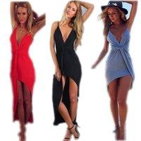 Wholesale 2015 Women Beach Dress Fashion V Neck Twist Summer Backless Asymmetrical Bandage Mini Dress Sexy Club Party Wear vestidos BY DHL