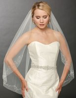 aire cleaner - One Tier Veils For Bridal Fingertip Length Bel Aire White Ivory Or Champagne Beaded Scroll Clean Cut Edge Wedding Veil V7243