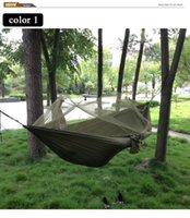 Wholesale Portable High Strength Parachute Fabric Camping Hammock Hanging Bed With Mosquito Net Sleeping Hammock for Ourdoor Camping and Hiking