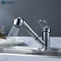 Wholesale AZOS Kitchen Basin Faucet Free Swivel Pull Out Spray Chrome Polish Single Handle Deck Mounted Mixer CFLT004