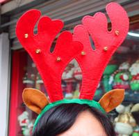 achat en gros de noël déguisements-Décorations de Noël rouge de Noël de Bell Head Buckle cheveux cerceau décorations de Noël Reindeer Antlers Bandeau Bandeaux Prop Fancy Dress Head