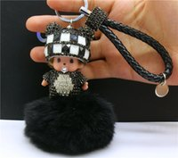 Wholesale KEYCHAIN MONCHHICHI AMAZING CUTE PENDANT GENUINE RABBIT FUR POM POM FOR BAG CHARMS BIRTHDAY GIFT CAR PENDANTS CASUAL ACCESSORIES