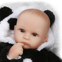 bald look - 42cm cartoon panda clothing reborn babies dolls bebe gift boneca bald head real newborn baby looking brinquedo menina