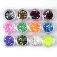 72 Pots Nail Art Décoration Glitter Powder concassée Shell Bead Hexagon Striping perlé grenouille perles lariat