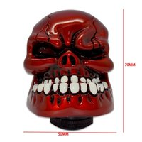 Wholesale Hot Universal Manual Gear knob Gear Stick Shift Shifter Lever Knob Wicked Carved Red Skull pomo marches fastshipping