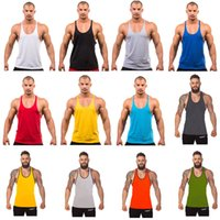 Wholesale 12 Colors Cotton Stringer Bodybuilding Equipment Fitness Gym Tank Top shirt Solid Singlet Y Back Sport clothes Vest Free Ship A