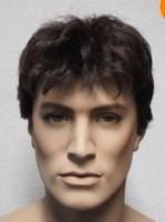 achat en gros de pleine perruque de dentelle hommes-100% tout neuf de haute qualité Mode image pleine dentelle perruques belles brunes perruques Mode Hommes en bonne santé courtes pour les femmes