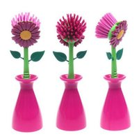 Wholesale new design creative sun flower cleaning brush kitchen bathroom clean tools plastic mix color