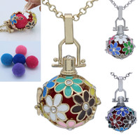 Wholesale Womens Charms Copper Colorful Flowers Daisy Locket Openable Pendant For Aromatherapy Essential Oil Fragrance Diffuser Chain Necklace Jewelry