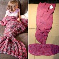 Wholesale New Arrival Kids Adults Mermaid Sleeping Bags Winter Knitted Mermaid Blankets Mermaid Tail Blanket Mermaid Tail Sleeping Bag