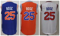 Wholesale Top Quality Men Carmelo Anthony Kristaps Porzingis Jerseys Derrick Rose Patrick Ewing Rev Jerseys Embroidery Logo Mix Order