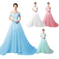Wholesale Sheer Neck Oveskirts Evening Special Occasion Dresses Off Shoulder Appliques Beaded Mint Tulle Real Image Formal Evening Prom Gowns