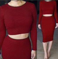 Wholesale The new sexy female long sleeved knit dress suit Slim large size cotton wool two piece knit dress Sj1127