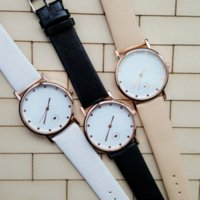 auto battery accessories - Women Watch New Accessories To Love Beige Leather Strap Watch Love Heart Dots Dial Women Rose Gold Case Watch