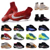 Wholesale New mens high ankle football boots SupERfly V MaGISta oBrA FG HERITAGE What the Mercurial CR7 SupERfly IV VI HyperVENom oriGINal cleats