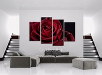 Wholesale Wall Decor Canvas Painting Piece Canvas Art Red Rose Digital Picture Home Pieces Modular Picture for Bedroom Dropship
