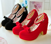 Wholesale Black Red Multifunctiona Bow Platform Shoes Wedge Heel Dress Shoes Ankle Strap pumps colors Size to