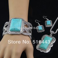 antique jade bangle - Hot Sale Antique Silver P Natural Turquoise Rectangle Necklace Earrings Bangle Womens Vintage Jewelry Set A