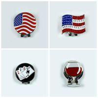 achat en gros de golf marqueur clip chapeau-2016 New US FLAG Alliage de golf Alignement extérieur Aiming outil balle marqueur Magnétique chapeau Clip Golf Accessoires