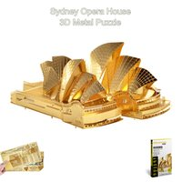 Wholesale Piececool Golden D Metal Puzzle of Sydney Opera House World Famous Building Assembly D Simulation Model Kits DIY Funny Toys